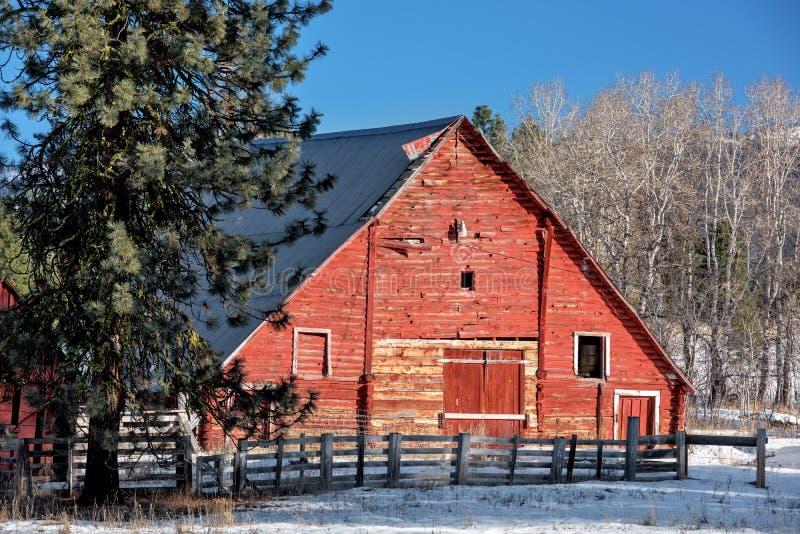 Granero rojo clásico en un invierno de Idaho imagen de archivo libre de regalías