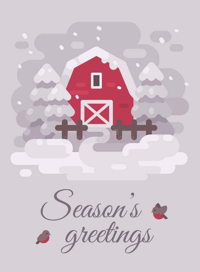Granero rojo con los árboles en paisaje del país del invierno Tarjeta de Navidad stock de ilustración