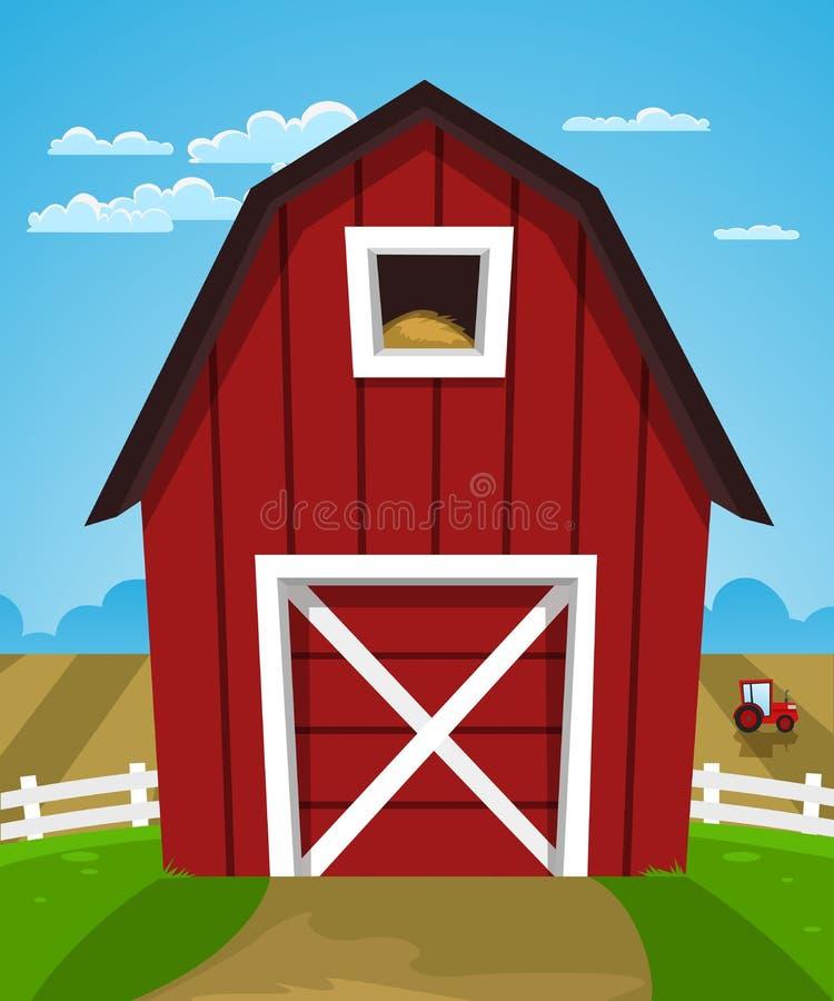 Granero rojo de la granja stock de ilustración
