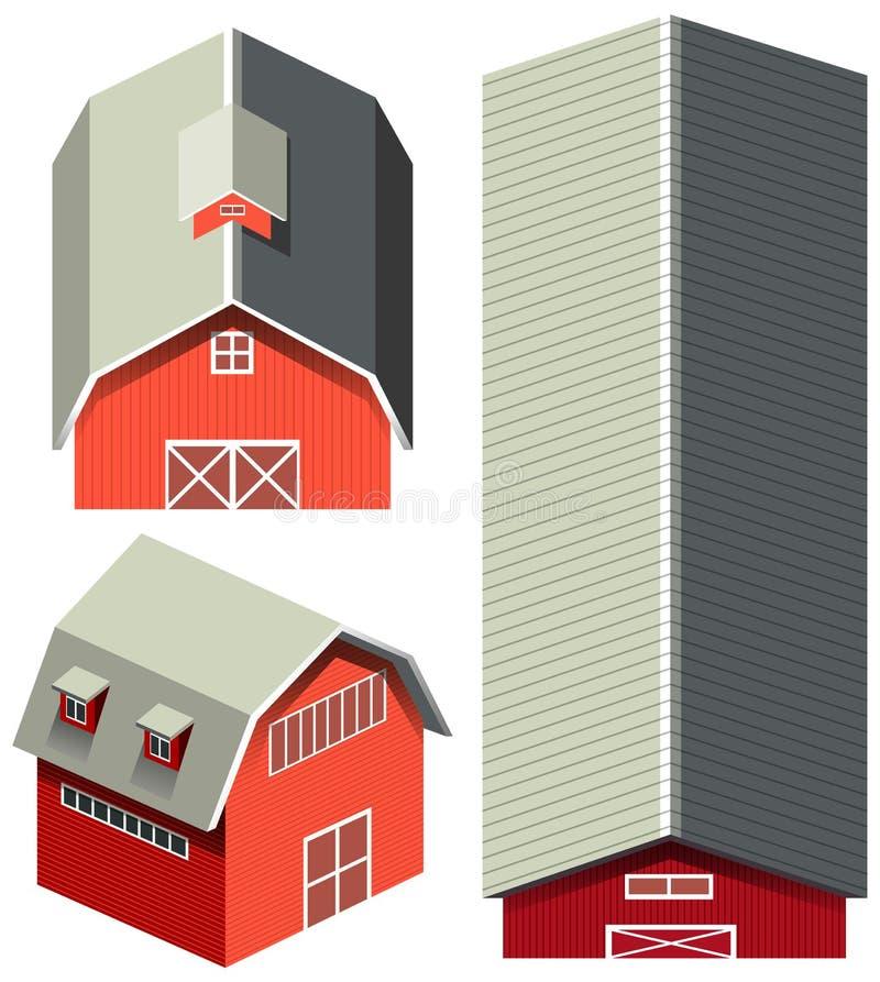 Granero rojo en diversos ángulos ilustración del vector