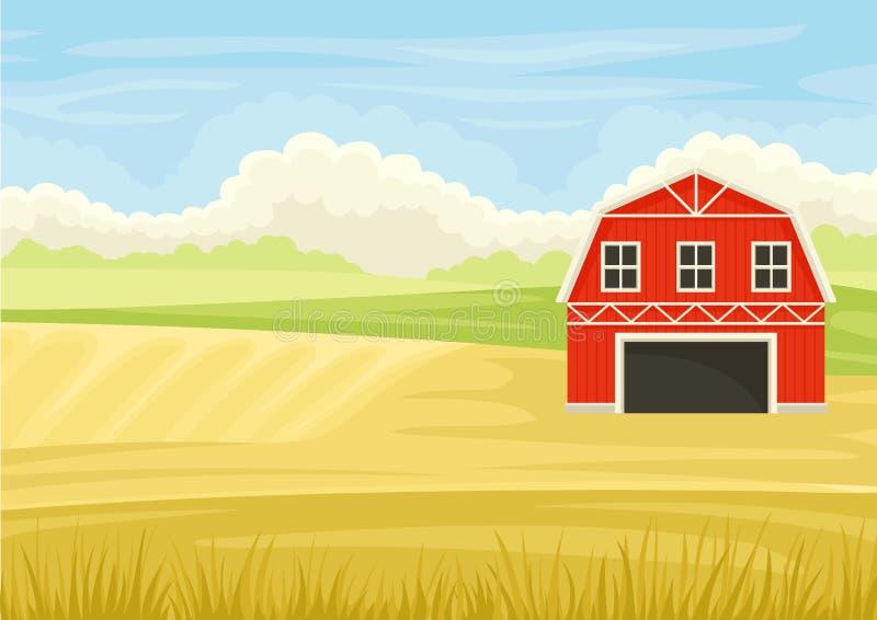 Granero rojo en el campo Ilustraci?n del vector en el fondo blanco libre illustration