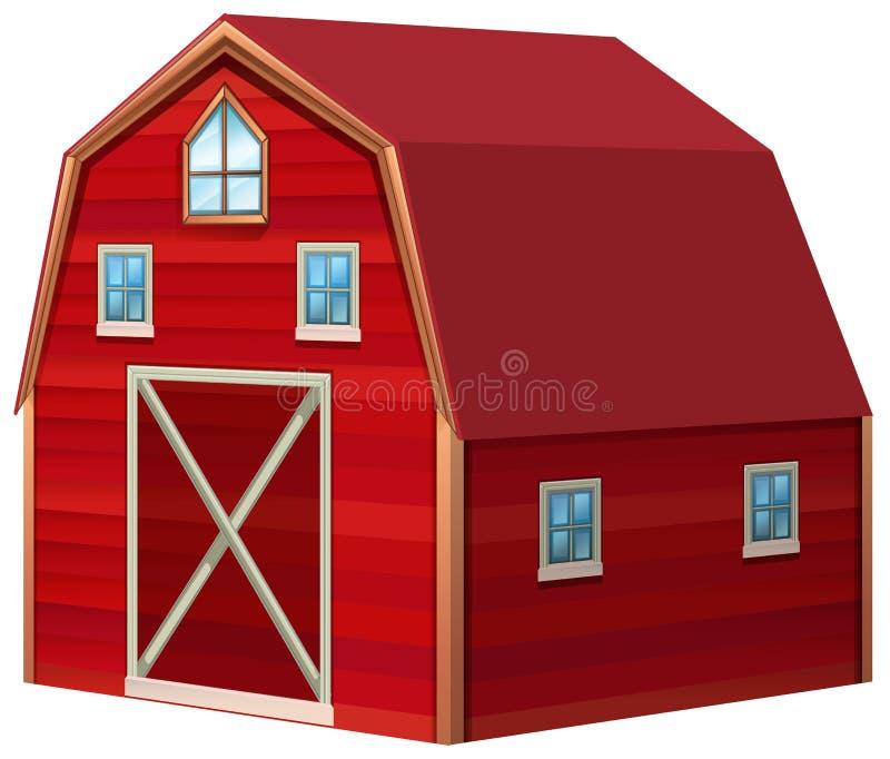 Granero rojo en el diseño 3D stock de ilustración