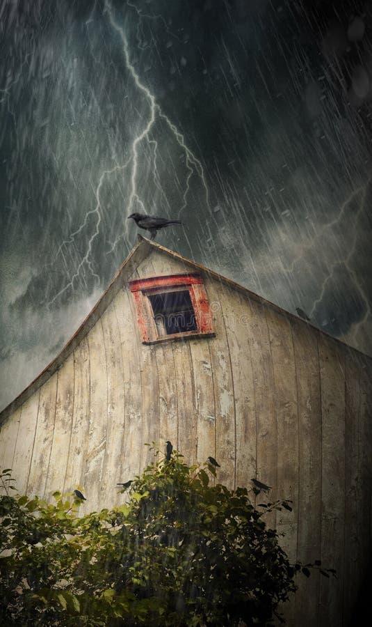 Granero viejo fantasmagórico con los cuervos en una noche tempestuosa fotografía de archivo libre de regalías