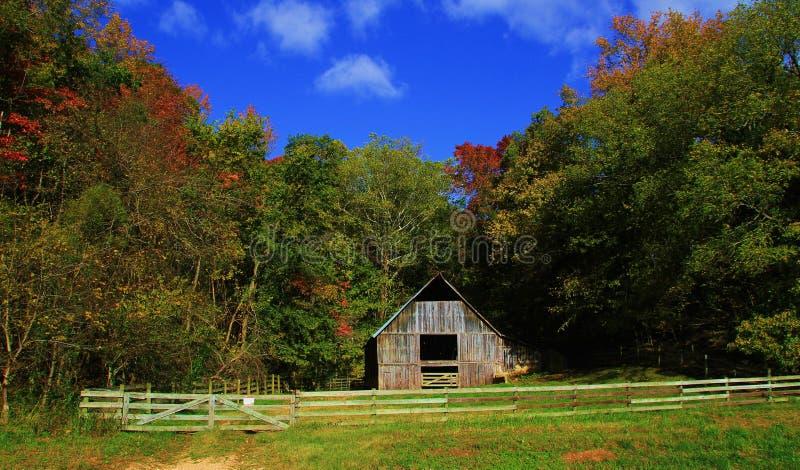 Granero viejo rodeado por los árboles del cielo azul y de la caída imagenes de archivo
