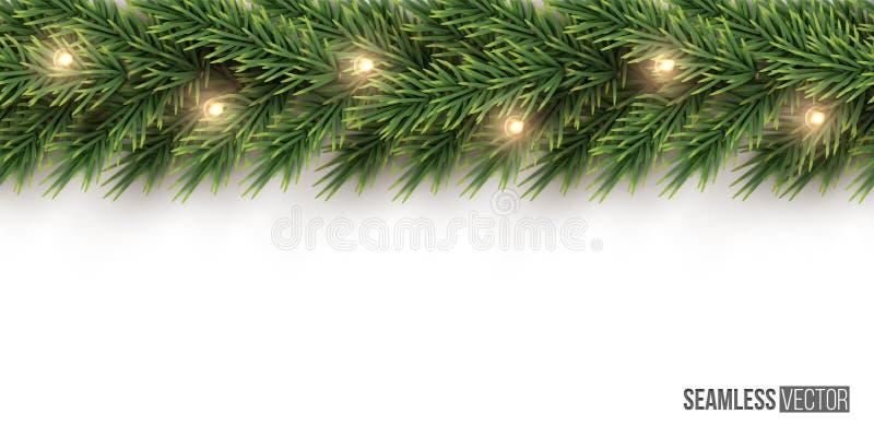 Granfilial med girlandden horisontalsömlösa modellen för ljus kula Sömlös julgranbakgrund för vektor royaltyfri illustrationer