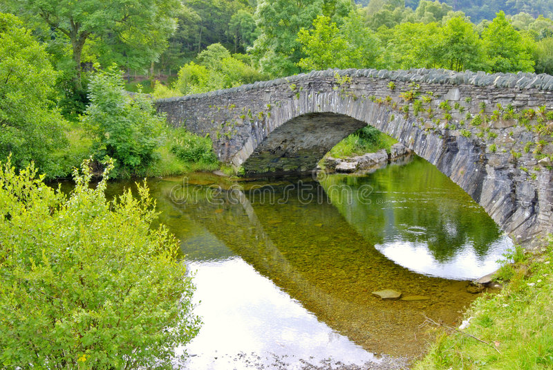 Grange in Borrowdale. Pack-horse bridge over the river Derwent at Grange in Borrowdale, near Keswick in the English Lake District stock photos