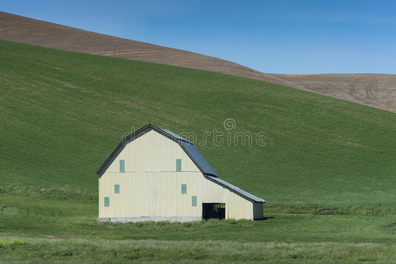Grange dans les domaines de blé photo stock