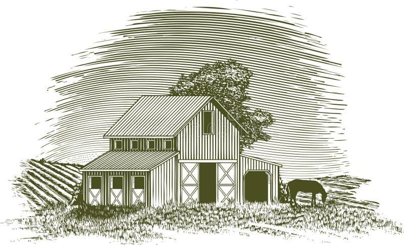 Grange de cheval de gravure sur bois illustration libre de droits