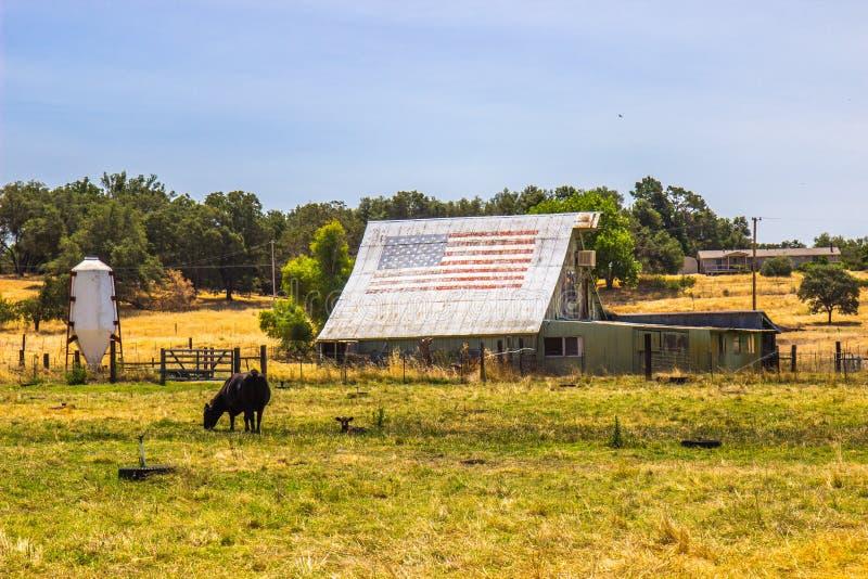 Grange et hangars de vintage dans Disprepair avec le drapeau américain sur le toit photos libres de droits