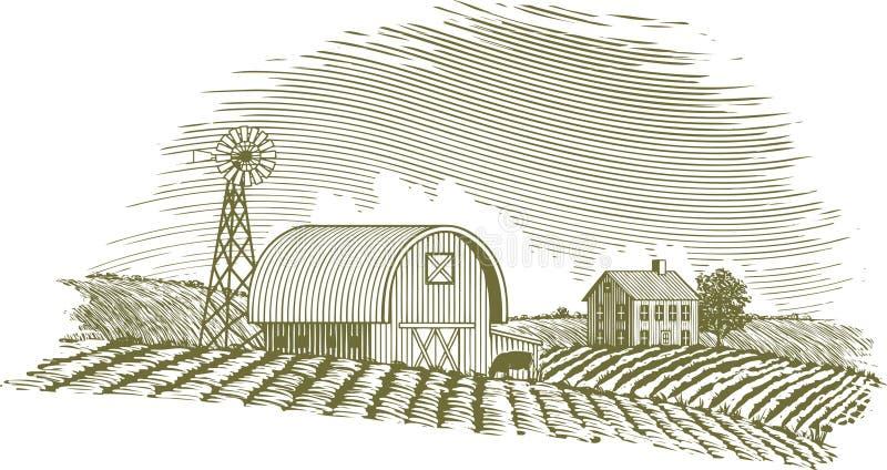 Grange et moulin à vent de gravure sur bois