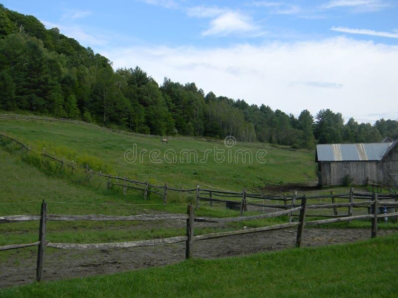 Grange et pâturage du Vermont image stock
