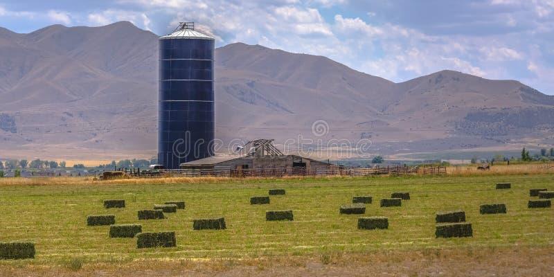 Grange et silo à une ferme avec la meule de foin sur le champ image libre de droits