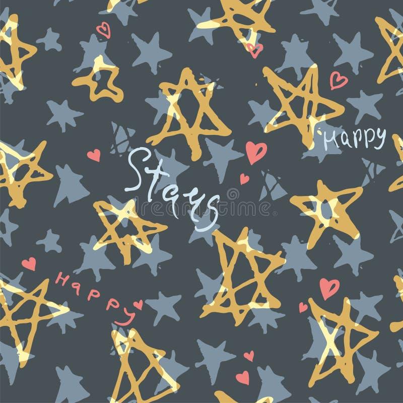 Grange motif transparent avec étoiles dessinées à la main Étoile dorée et inscriptions à la mode illustration libre de droits