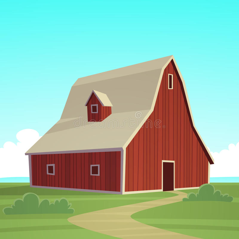 Grange rouge de ferme illustration libre de droits