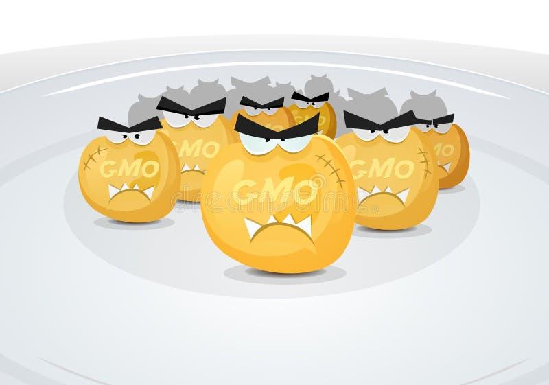 Grani del cereale del Gmo in mio piatto royalty illustrazione gratis
