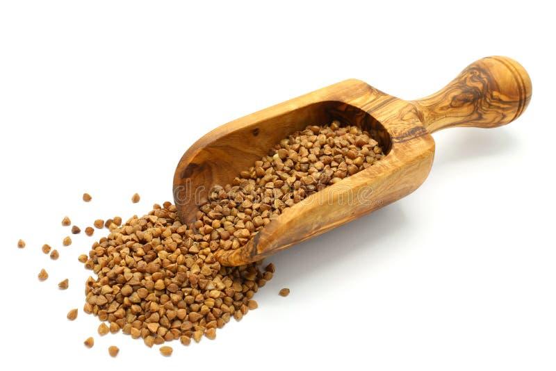 Grani del grano saraceno in mestolo di legno immagini stock