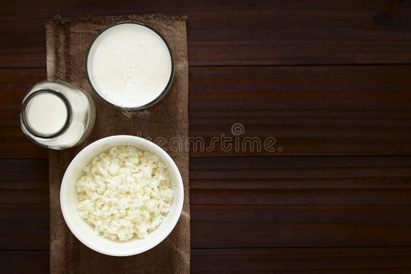 Grani del kefir e kefir fresco fotografia stock