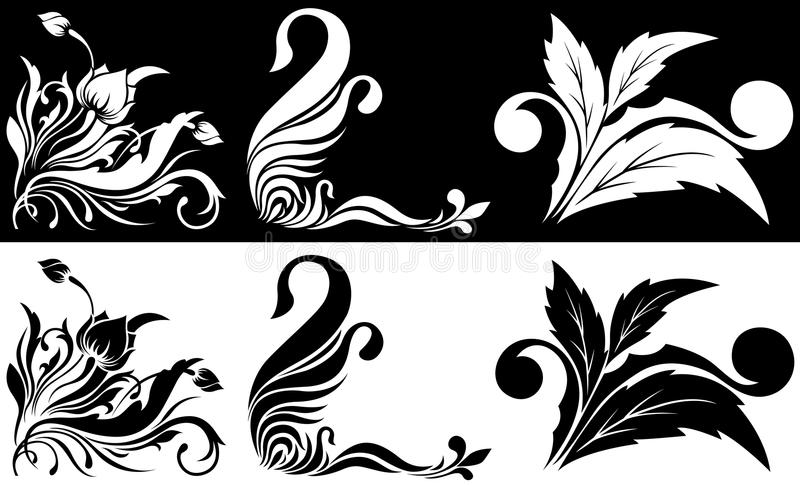 graniasty czarny kwiatu wzoru biel ilustracja wektor