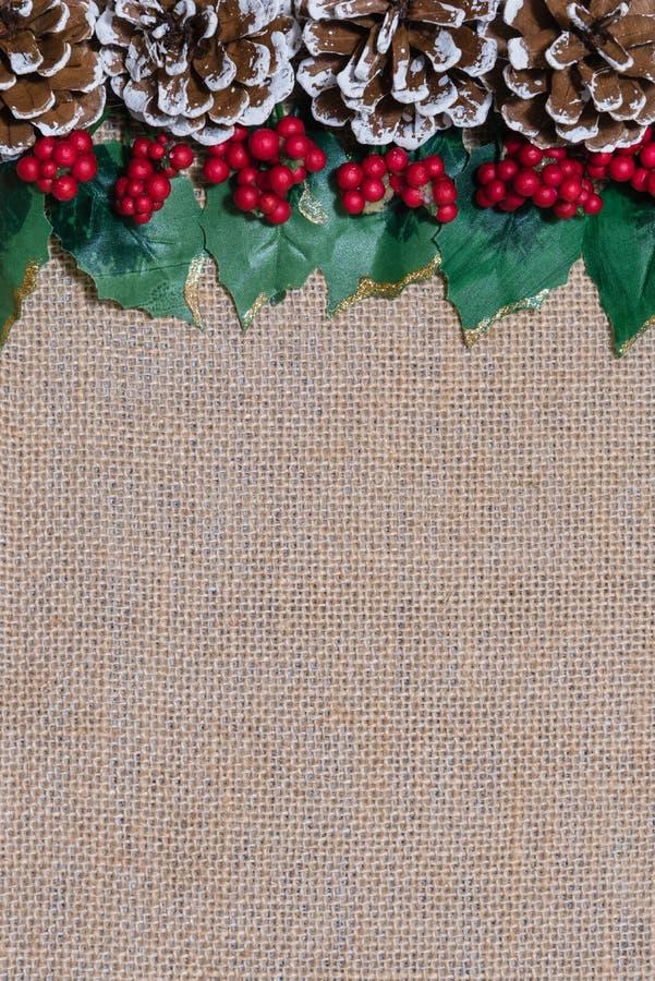 Granica Bożenarodzeniowi pinecones, holly liście i czerwone jagody na nieociosanym burlap tkaniny tle, fotografia royalty free
