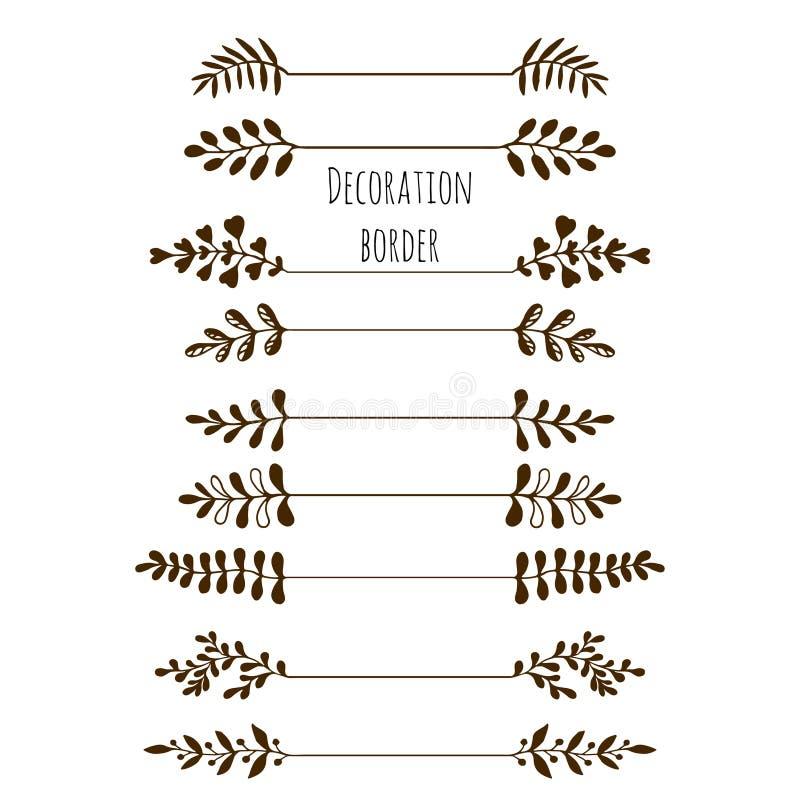 granica dekoracyjnego Ręka rysujący rocznik granicy set z liśćmi, gałąź ilustracji