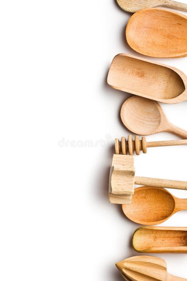 Granica drewniani kuchenni naczynia zdjęcie stock