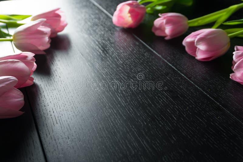 Granica od jaskrawych różowych tulipanów kwitnie na czarnym drewnianym tle obrazy royalty free