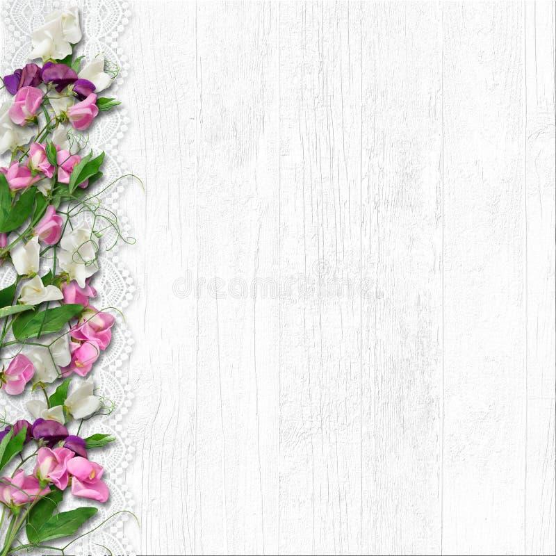 Granica piękna wiosna kwitnie na białym drewnianym tle zdjęcie stock