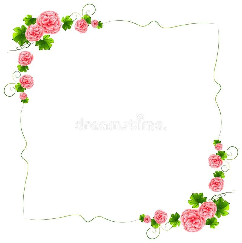 Granica z goździk menchii kwiatami royalty ilustracja