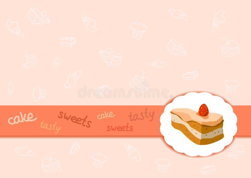Granica z tortem i cukierkami royalty ilustracja