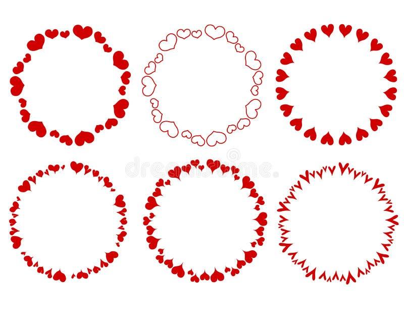 granice dekoracyjnych otoczyli czerwonych serc ilustracji
