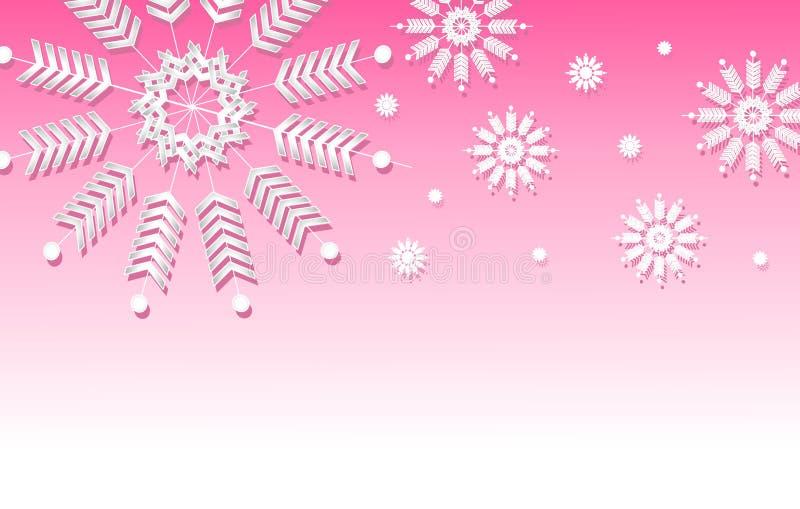 granice tła różowe płatek śniegu ilustracja wektor