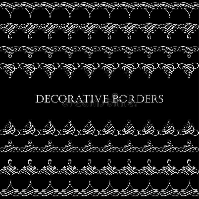 Granicy ustawiają kolekcję w kaligraficznym retro stylu odizolowywającym na czarnym tle ilustracja wektor