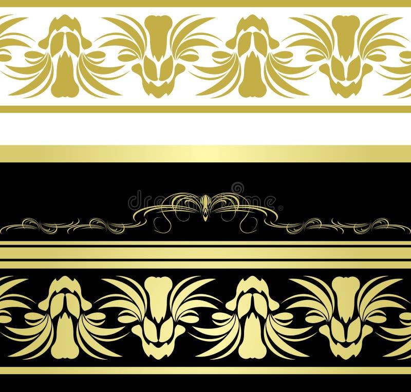 graniczy dekoracyjnych kwiecistych wzory ilustracja wektor