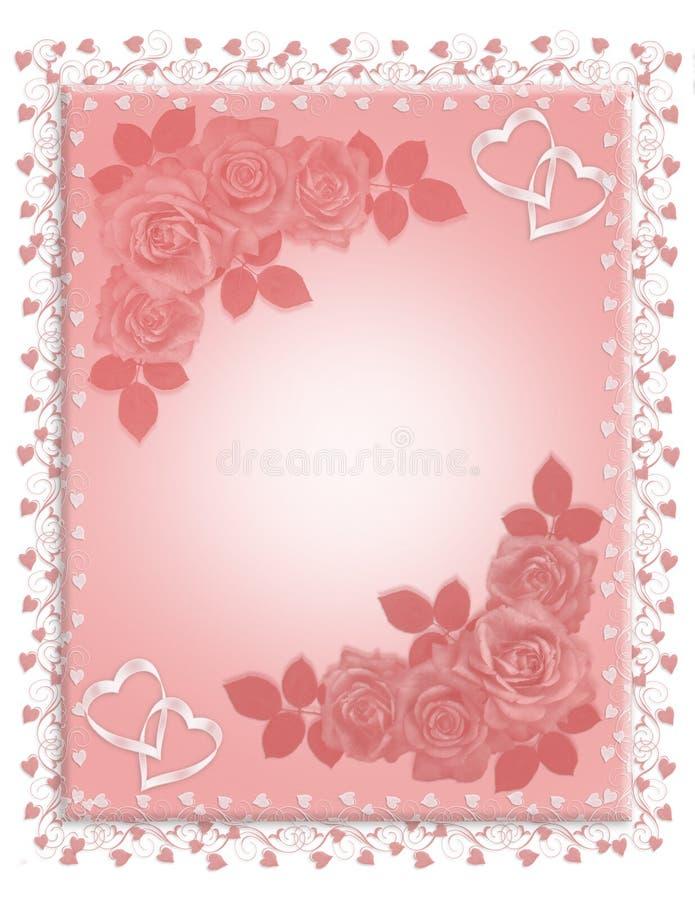graniczy zaproszenia różowy róż target286_1_ ilustracji