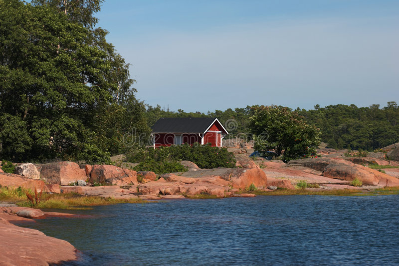 Granit coast in Hanko stock photography