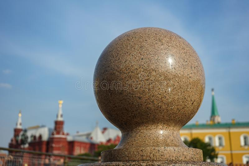 Granite ball on the background of the Moscow Kremlin royalty free stock photo