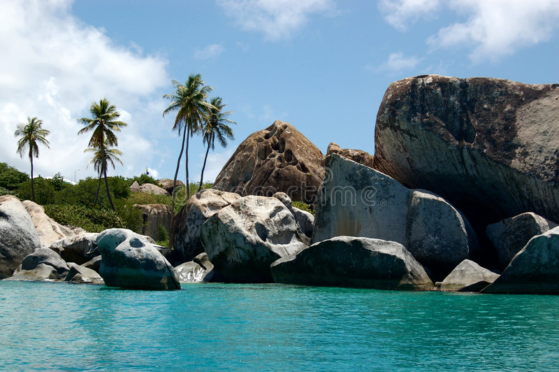 Download Granite Boudlers And Palm Trees Line Turquoise Waters Stock Photo - Image: 1759508