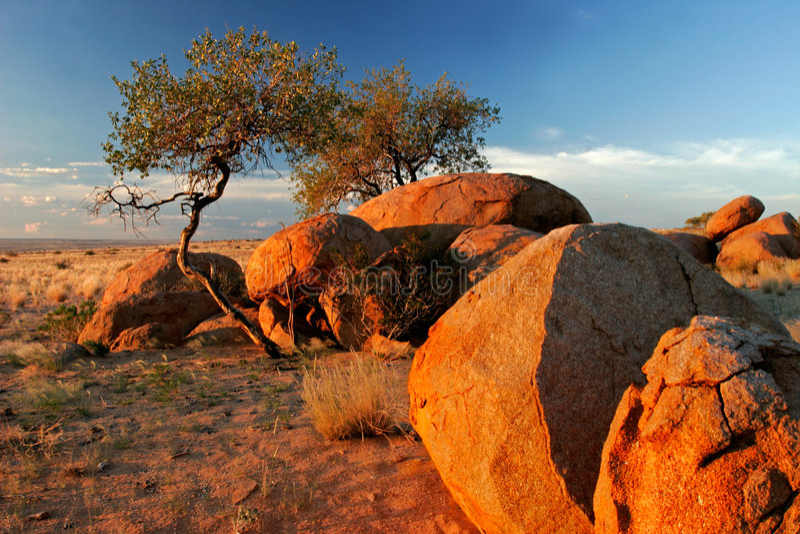Granite boulders, Brandberg mountain, Namibia stock image