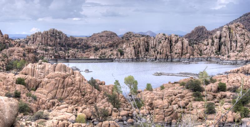 Granite Dells and Lake Watson Riparian Park, Prescott Arizona USA. Granite boulders and canyon lake. The Granite Dells area near Prescott, AZ is a beautiful area stock photo