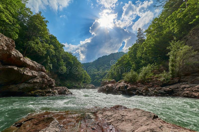 Granite canyon of the river Belaya. Monument of nature. Located in Russia, in the North Caucasus. royalty free stock photo