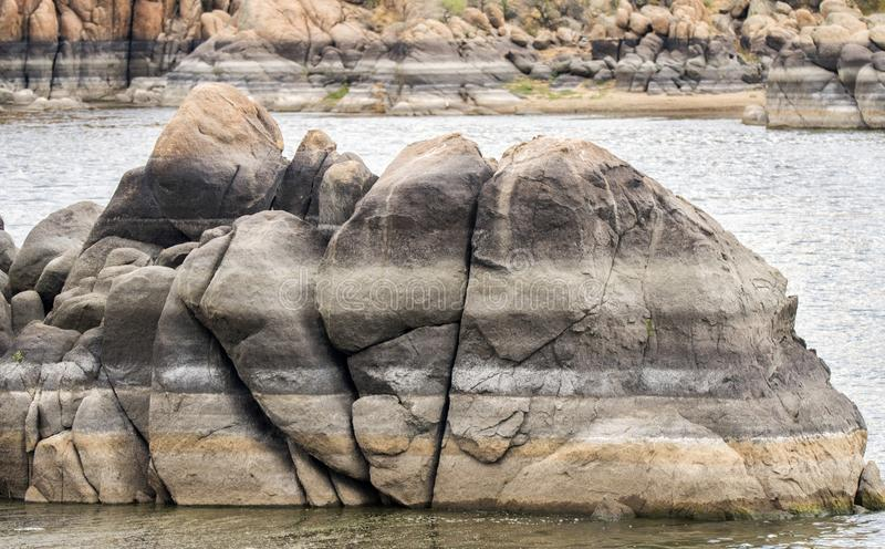 Granite boulder formation in Lake Watson, Prescott Arizona. Granite cliffs and boulders of Watson Lake. Lake Watson is one of two reservoirs at the Granite Dells royalty free stock images
