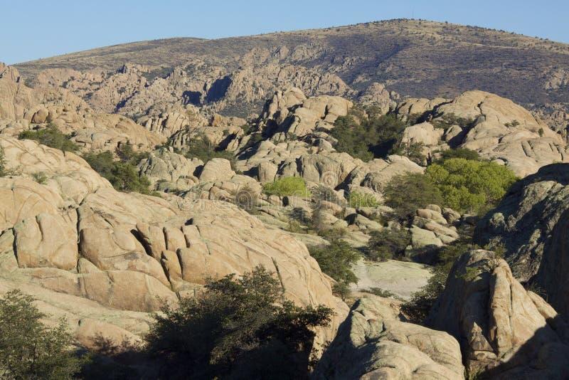 Granite Dells landscape. Scenic granite dells rock formations near Prescott Arizona stock photos
