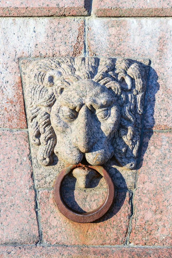 Granite lion with ring decoration embankment in Saint-Petersburg.  stock photography
