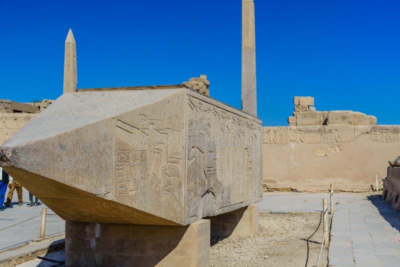 Granite obelisks in a Karnak temple. Luxor, Egypt. Granite obelisks in Karnak temple. Luxor, Egypt royalty free stock photo