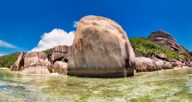 Granite rocks on the Anse Source d'Argent beach, La Digue Island, Seyshelles stock photo