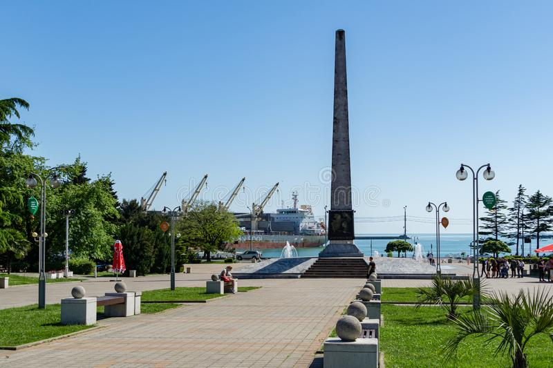 Granite stele with fountains on pedestrian-only street, on square of October Revolution. Tuapse. Tuapse, Russia - May 16, 2019: Tuapse, Russia - May 16, 2019 stock images