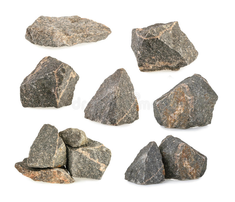 Granite stones, rocks set isolated on white background stock images