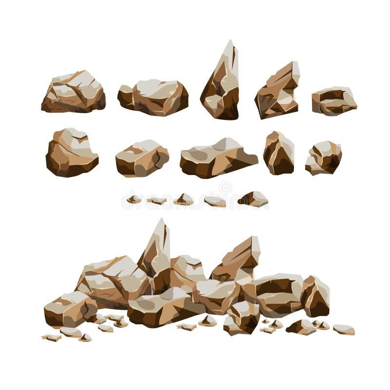 Granitfelsen eingestellt in Karikaturart stock abbildung
