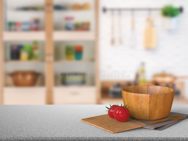 Granitgegenspitze mit Tomate und hölzerner Schüssel lizenzfreie abbildung