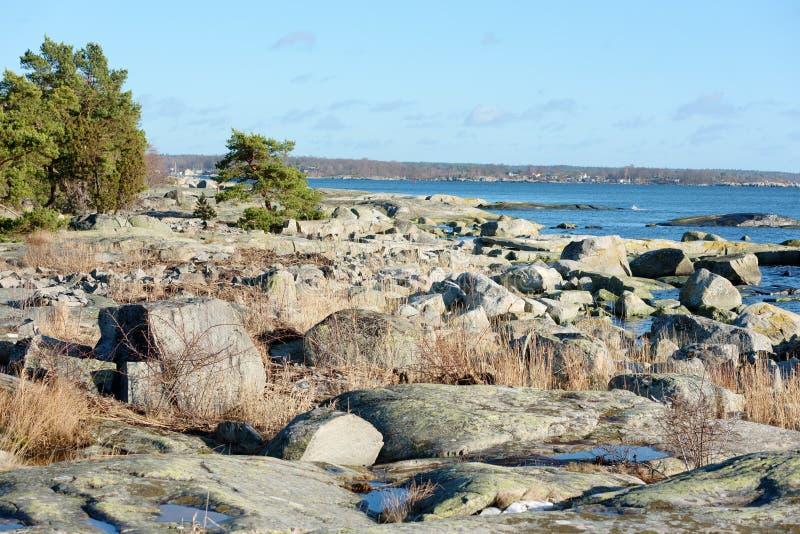 Granitküstenlinie stockbilder
